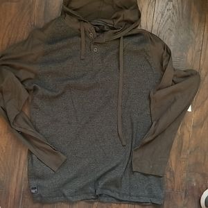 Dark grey and green hooded top